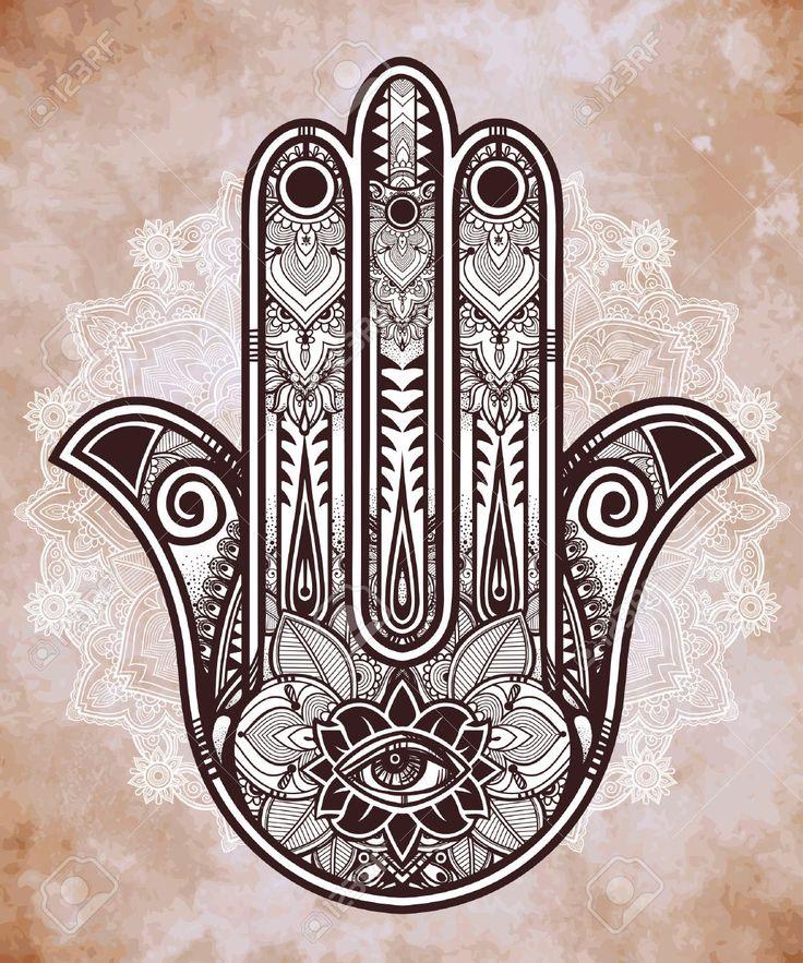 Elegantní Ozdobený Ručně Malovaná Hamsa Hand Of Fatima. Hodně štěstí Amulet V Indických, Arabských židovské Kultury. , Royalty Free Kliparty, Vektory A Ilustrace. Image 46861354.