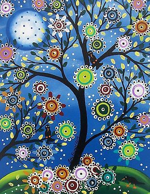 Original Custom Painting Folk Art Black Birds Tree Art Whimsical Tree of Life