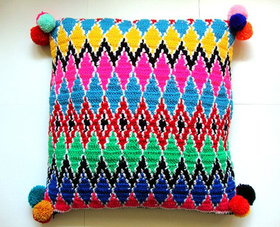 modern pillow cover crochet Ethnic pattern by wildstar80 on Etsy