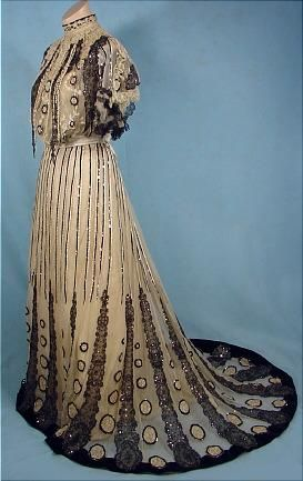 Sequined chiffon and lace evening gown by Gustave Beer, French, c. 1905.