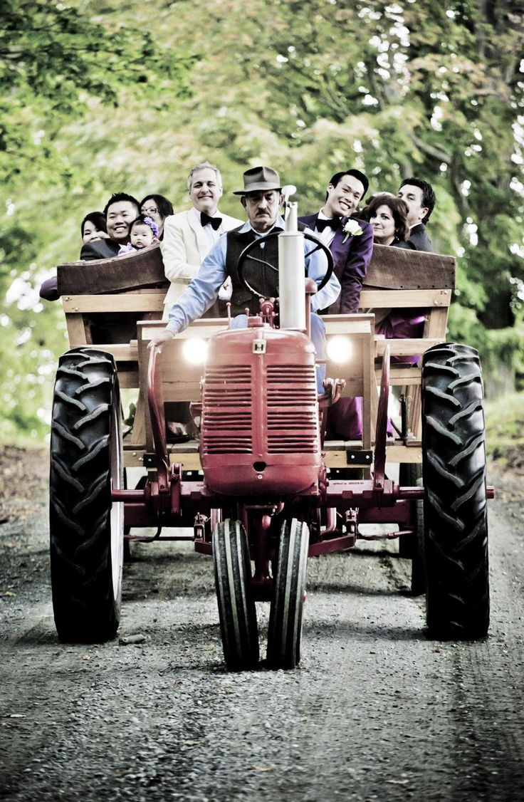 Vermont wedding: Renting an antique tractor to transport the wedding party.: