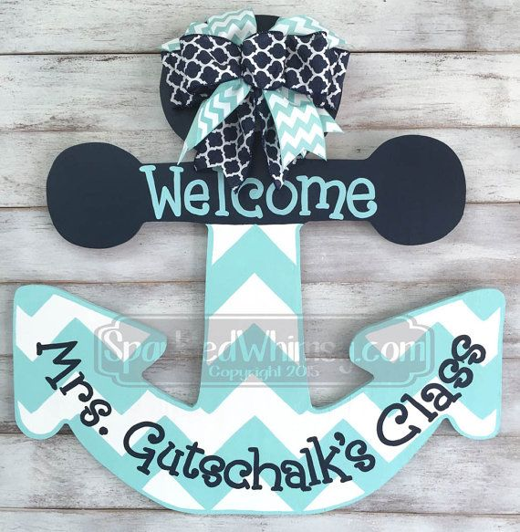 Personalized Chevron Anchor Teacher Door Hanger by SparkledWhimsy