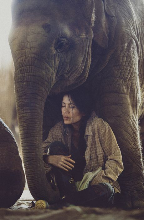Lek and one of her elephants at Elephant Nature Park in Chiang Mai, Thailand.
