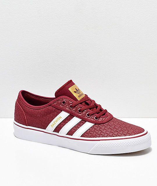 adidas Adi Ease Daewon Burgundy, White & Gold Skate Shoes