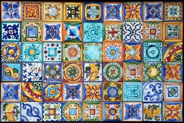 Sicilian Tiles composizione di mattonelle in cotto smaltato fine 800