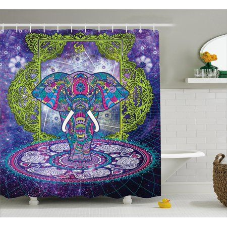 Indian Shower Curtain Sacred Goddess Elephant Standing In Mandala Over Outer Space Cosmos Hippie Design Fabric Bathroom Set With Hooks 69W X 70L Inches