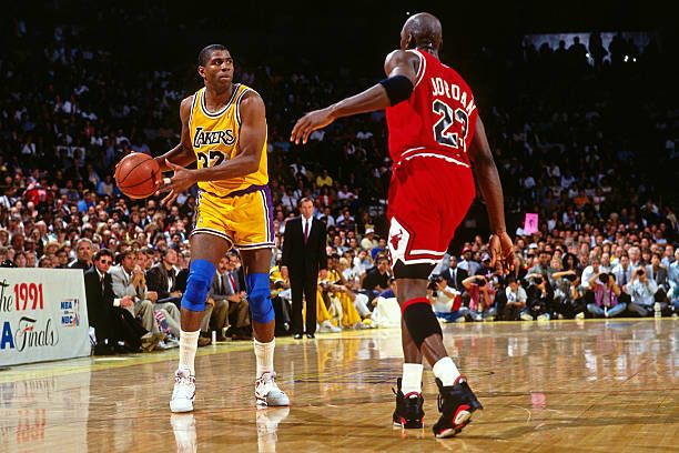 Magic Johnson Of The Los Angeles Lakers Dribbles Against Michael Magic Johnson Los Angeles Lakers Nba Finals Game
