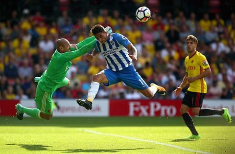 Heurelho Gomes of Watford punches before Anthony Knockaert of Brighton can get his head to the ball during the goalless draw at Vicarage Road.