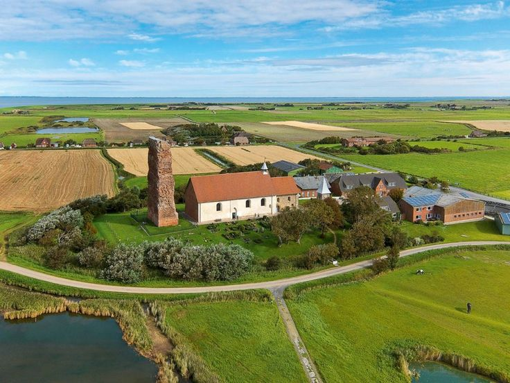 Aerial view of Old Church, Pellworm Island, north Germany