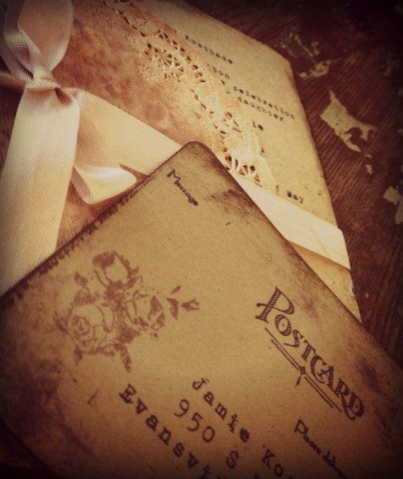 Invitations Pale Purple Doily, Orchid Tea stained Ribbon Wedding, Shower, Tea. $5.50, via Etsy.
