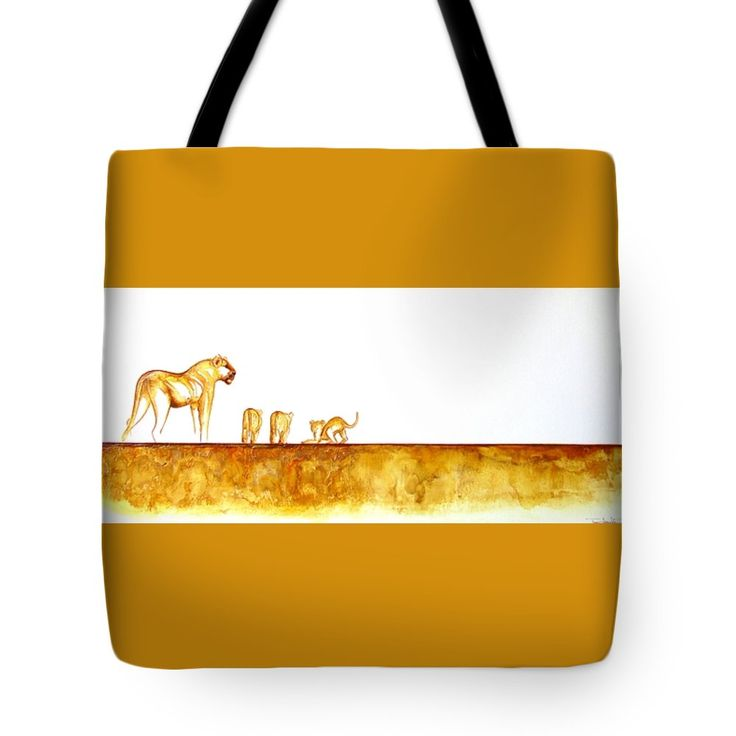 """Lioness and Cubs Tote Bag 18"""" x 18"""" by Tracey Armstrong"""