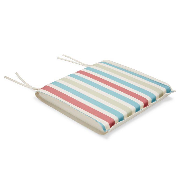 Isla Multicolour Striped Seat Pad | Departments | DIY at B&Q