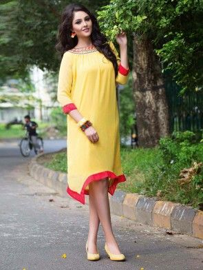 Yellow Georgette Tunic With Resham Embroidery Work