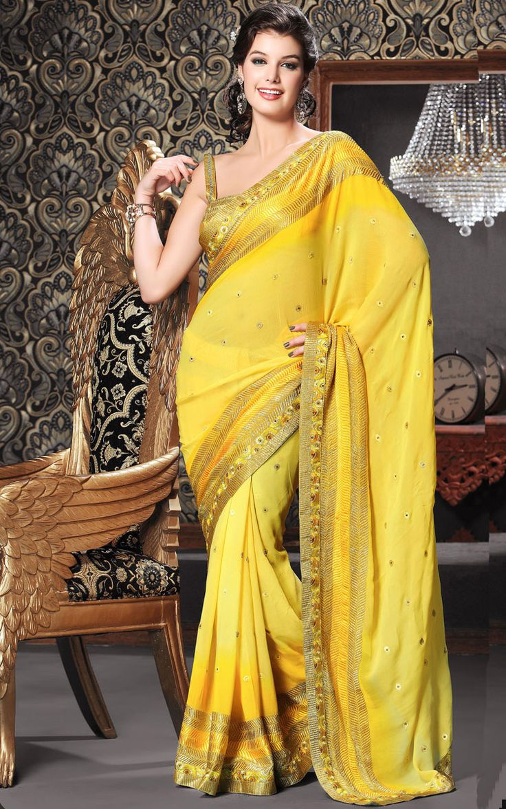 #Yellow Colored #Designer Saree