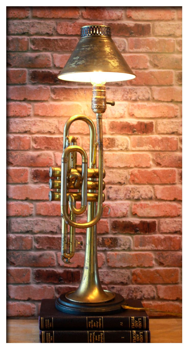 Vintage Circa York Brass Trumpet with Matching Lamp Shade Made into this  Up-cycled Distressed Antique Table Lamp by - Best 25+ Antique Table Lamps Ideas On Pinterest Antique Lamps