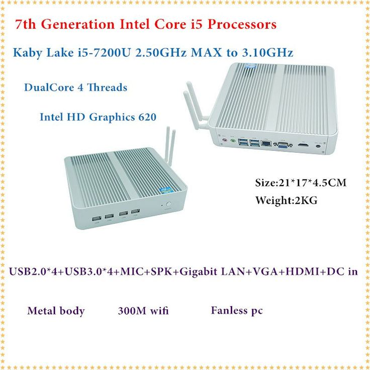 HRF Intel Kaby Lake Core i5 7200U Mini PC Windows HDMI+VGA Mini PC i3 i5 minipc 4K HD HTPC Intel HD Graphics 620 Fanless PC