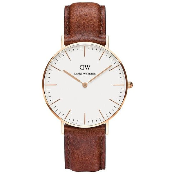 Daniel Wellington St. Andrews Leather Strap Watch found on Polyvore featuring jewelry, watches, accessories, brown, daniel wellington, polish jewelry, brown watches, bezel watches and leather strap watches