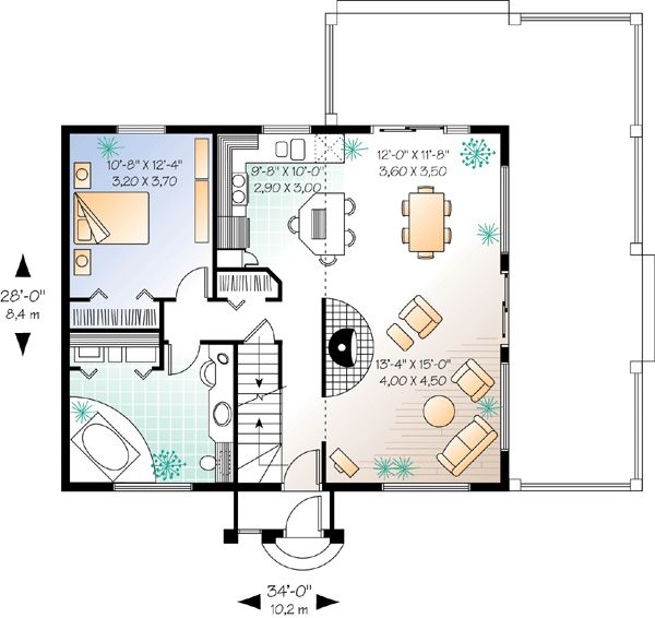First Floor Plan of Contemporary   House Plan 76170