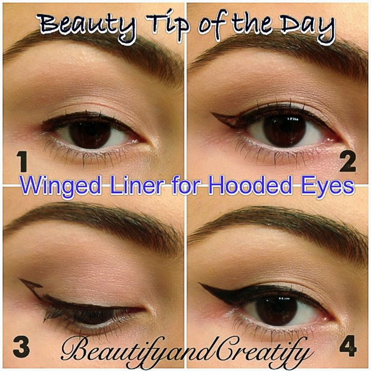 Winged Liner for hooded eyes.  1. Line your lashline.  2. Open your eyes and look straight. Draw a wing on the overlapping hooded lid by looking straight ahead.  3. Now look down, connect the gap of the wing under the hooded lid and fill the wing in.  4. Smooth the lines and you are done!