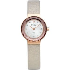 Skagen Denmark Watch, Women's Nude Leather Strap 25mm 456srlt