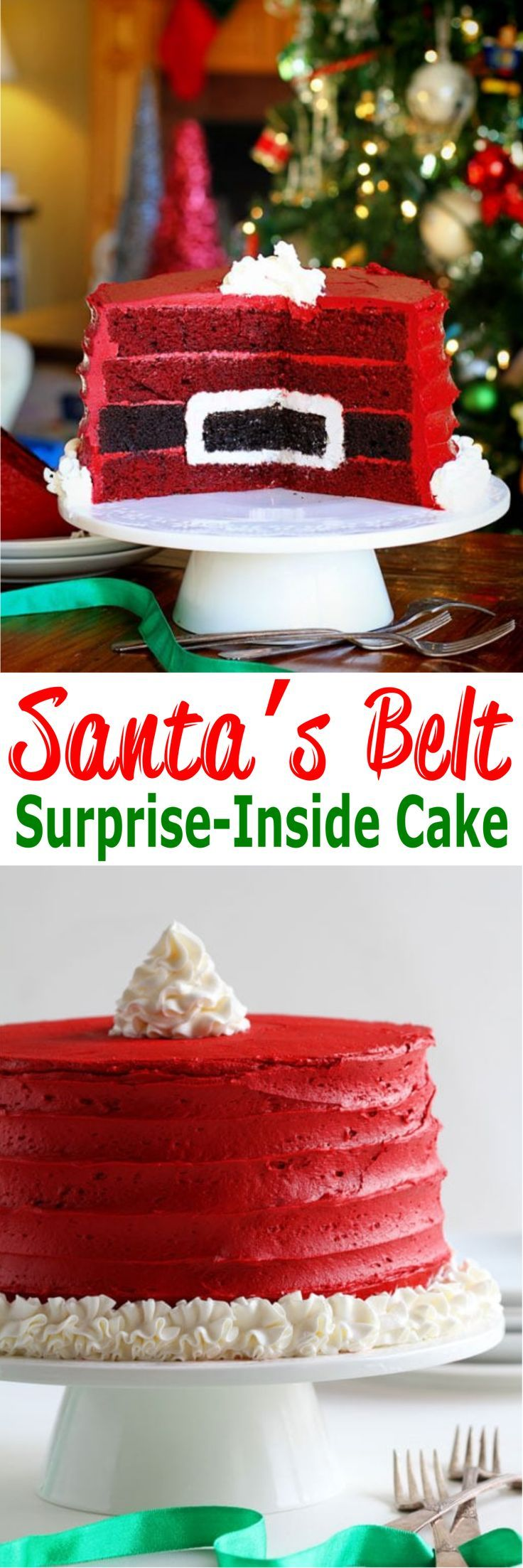 Santa's Belt Surprise-Inside®️ Cake | If you're looking for festive desserts recipes for Christmas, your family will love this Santa's Belt Cake with a surprise inside! You can either use a box mix or from scratch recipe for red velvet cake and chocolate cake! This homemade cake is amazing, a sweet treat for the holiday and so damn delicious! For more simple and easy dessert recipes to make, check us out at #iambaker. #cakes #desserts #yummydesserts #recipeoftheday