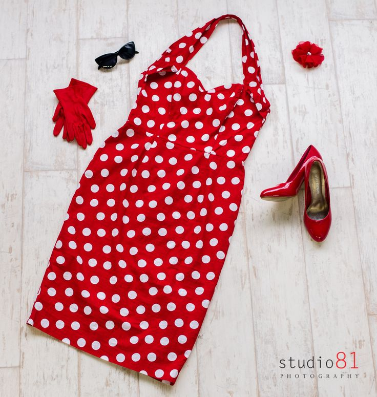 Red with White Polka Dot Halter Dress (Size 16), Red Short Gloves, Red Patent Heels (Size 9), Red with a Pearl Flower Hair clip