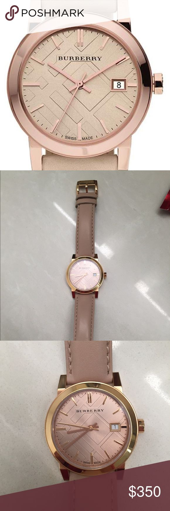 Burberry rose gold check stamped 34mm watch Gorgeous rose gold Burberry watch, in excellent condition!  No scratches, leather band like new!  No box.  First photo is stock photo. Burberry Accessories Watches