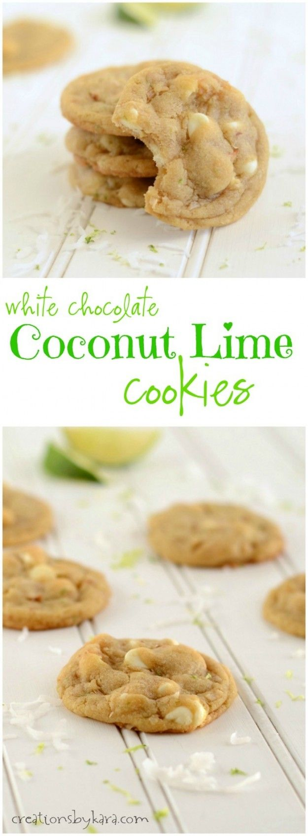 White Chocolate Cookies with Coconut and Lime. A perfect spring cookie!