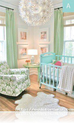 Yeşil Tonlarında Bebek Odası Dekorasyonu