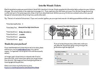 Customizable Numbered Ticket Template for Into the Woods T