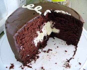 Giant Hostess Cupcake Cake.  Need an excuse to make this.