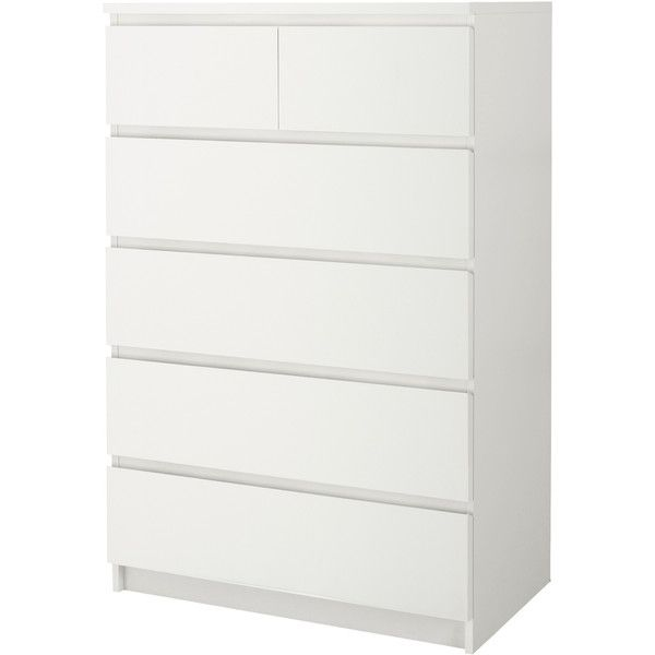 IKEA MALM 6-drawer chest, birch veneer ($149) ❤ liked on Polyvore featuring home, furniture, storage & shelves, dressers, bedroom, ikea, dresser, lacquer dresser, drawer dresser and six drawer dresser