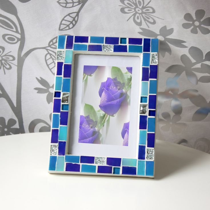 4x6 frame mosaic photo frame blue frame photo frame 4x6 picture frame 4x6 blue photo frame blue frames mosaic art gift for her