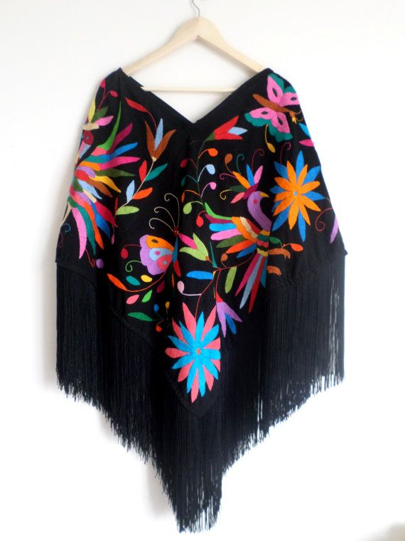 Handembroidered Poncho (Huipil) Available in white or black, multicolor, authentic #Otomi designs. One size fits all Free Shipping USA