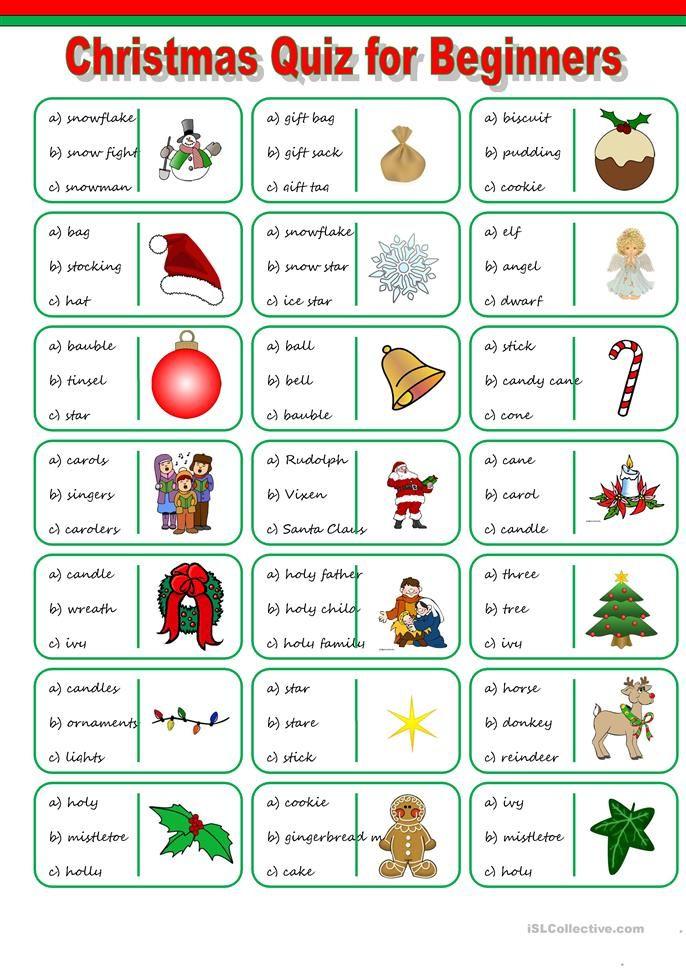 Christmas Vocabulary Quiz Ejercicios de ingles, Clase de