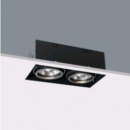 inbouwspot trimless zwart 2x50W/G53/AR111 (incl stuckrand)