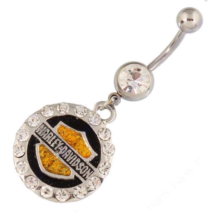Banana para piercing de ombligo con escudo Harley Davidson. 1,6mm de grosor. En negro y dorado con cristales.Ideal piercing de ombligo, 5.89