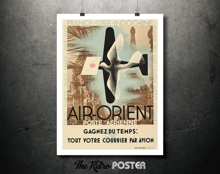 1932 Air-Orient Vintage Poster, Canvas or Adhesive Sticker - Artist: A.M. Cassandre // High Quality Fine Art Reproduction Giclée Print by TheRetroPoster on Etsy