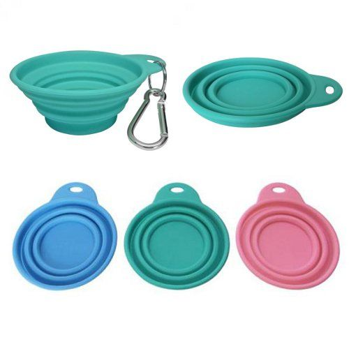 Brilliant collapsible travel bowls from Bliss Paws! They pack easily in a suitcase, car, or even on your person — a carabiner lets you clip them to a belt loop, purse strap, or leash. Miles loves the colors.