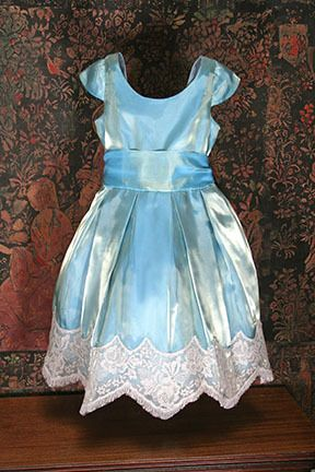 Iridescent emerald organza girls dress with taupe chantilly lace trim