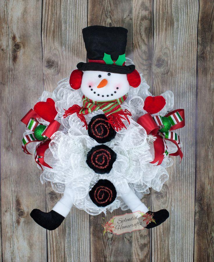 Snowman Wreath, Snowman Winter Wreath, Snowball Wreath, Snowman Door  Wreath, Christmas Door Wreath, Christmas Mesh Wreath, Snowman Decor