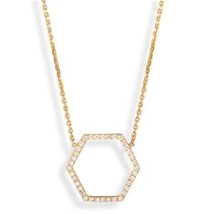Diamond Hexagon Necklace, Yellow Gold.