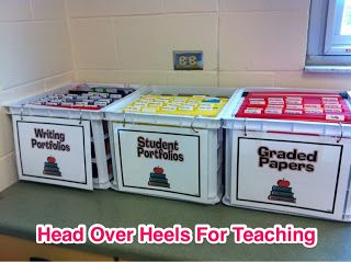 Student paperwork filing system - I think I found my solution for student portfolios. The Container Store's crates available in various colors will be perfect for this!