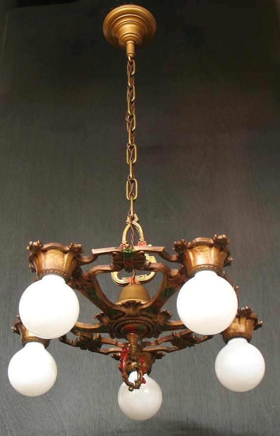 Antique Lighting 1920s Cast Iron Original Finish Five Light