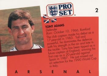 1990-91 Pro Set English League #2 Tony Adams Back