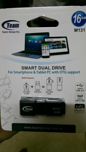Flash Disk + OTG Team 16GB, M131 Smart Dual Drive, For Smartphone & Tablet PC with OTG support, Micro USB to USB + USB Drive = Micro USB Drive, Interface USB 2.0 waterproof, Compatible to All Laptop, Komp, gadget, HP & Others. Specifications: Rated Voltage: 5V, Interface: USB 2.0 & Micro USB, Weight 6.6g, Dimensions 44(L) x 16.6 (W) x 9.4 (H)mm Suppport OS: Android, Windows 2000 / XP / Vista / 7 / 8 - Linux2.4 - Mac  Pemb Qty, Harga bisa di Nego boss, guys, agan & Boss.   Pen...
