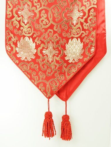 Nice Traditional Chinese Decorative Table Runner   Red With Classic Chinese  Floral Design   Zen Design/