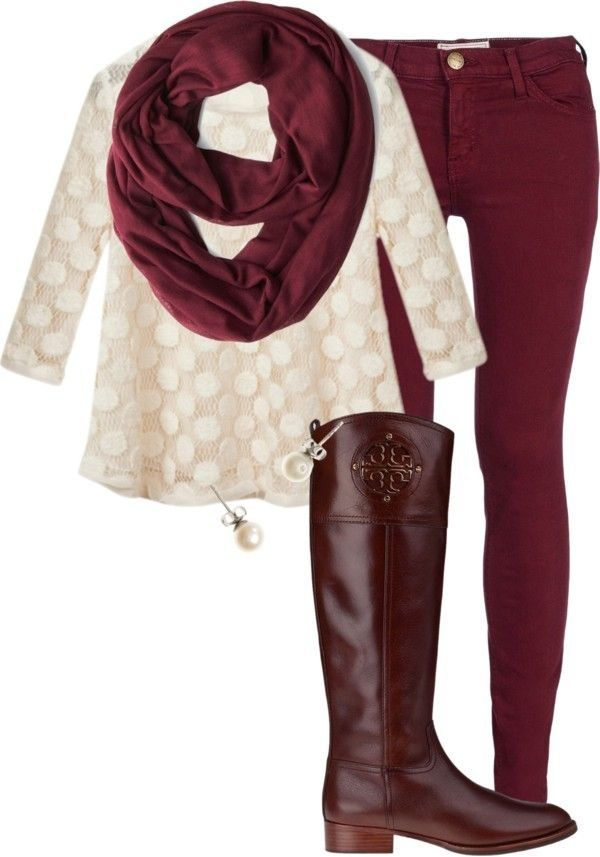 Maroon scarf and pants, brown boots, and cream shirt