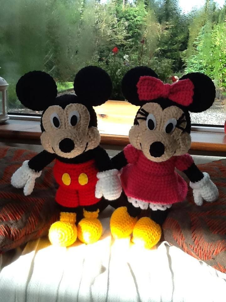 Handmade Mickey Mouse and Minnie Mouse. Buy them here - https://www.facebook.com/CBKnits