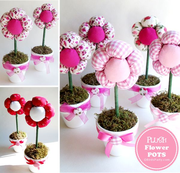 DIY Plush Flower Pots Centerpiece by Bird's Party - Great gift for mother's day